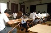 Studenti během závěrečných zkoušek, Stanstead College, Stanstead, Québec, Kanada